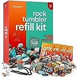 Dan&Darci Mega Rock Tumbler Refill Kit - 9 Varieties of Gems - 0.5 lb, 4 Grit Levels, Jewelry Fasteners, Compatible with All Tumblers Rock Tumbling Supplies