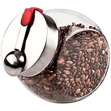 Glass Penny Candy Jar with Stainless Steel Magnetic Lid & Scoop - Candy Storage, Coffee Beans, Pet Food, Cookies, Dry Food Storage, Swear Jar and More - Holds 58 oz.