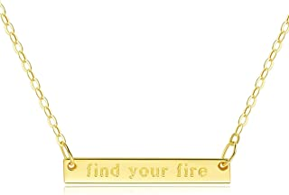 """Bar Necklace [Horizontal """"Believe It Bar"""" Inspirational Jewelry] Sterling Silver Plated 18"""" - Engraved with find Your fire"""