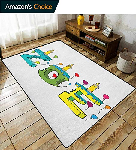 Best Deals! Zoe Floral Area Rug Soft, Colorful Festive Social Gathering Themed Girl Name Design with...