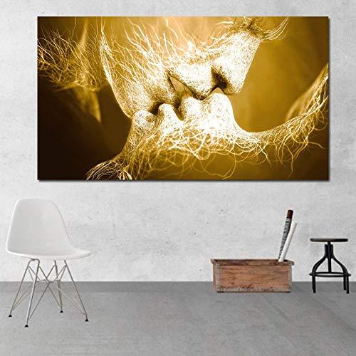 Abstract olieverfschilderij zonder lijst Amore kus muurkunst print op canvas afbeeldingen voor woonkamer moderne thuisdecoratie 70x140cm Love Kiss 1