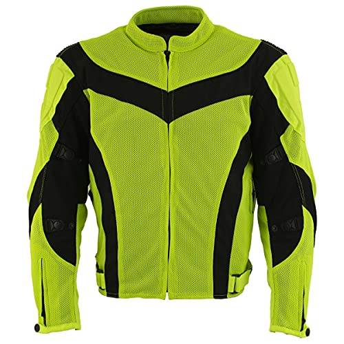 Xelement CF6019 Neon Green Textile Motorcycle Sport Jacket For Men with X Armor Protection - Premium Lightweight Breathable Night Safe High Visibility Biker Coat With YKK Zipper (XX-Large)