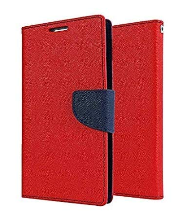 Dr2s Fashion Retail Drop-Protection Rugged PU Leather Wallet Flip Book Cover Case for Microsoft Lumia 535 - Red