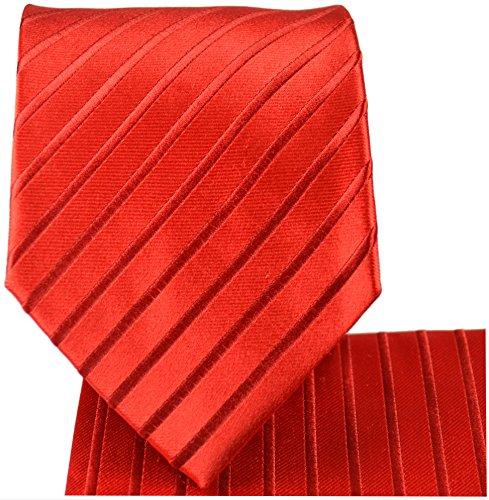 Cravate rouge uni rayée ensemble de cravate 3 Pièces (100% Soie Cravate + Mouchoir + Boutons de manchette)
