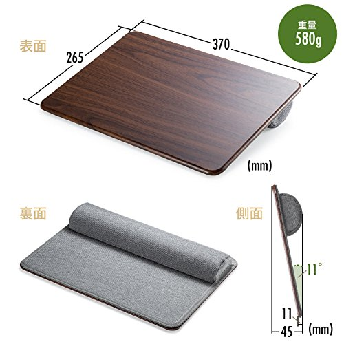 サンワダイレクトひざ上テーブルノートPC/タブレット用15.6型対応軽量580gクッション付き木目調200-HUS006