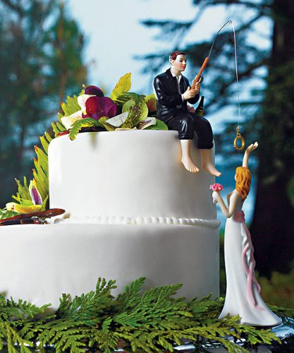 Bride and Groom Fishing Themed Cake Topper