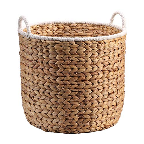 Heding Storage Basket,Laundry Basket Sundries Storage With Handle Hand Weaving High Capacity Wear Resistant Water Hyacinth Bathroom 3 Sizes (Color : NATURAL, Size : 25.5X27.5)