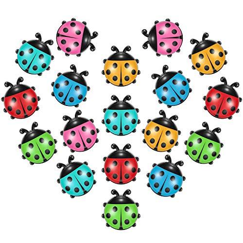 Boao 18 Pieces Ladybug Shape Refrigerator Magnets Cute Mini Ladybug Shape Fridge Magnets Kitchen Office Magnets for Office Home Whiteboards Lock Cabinet Photo Decoration