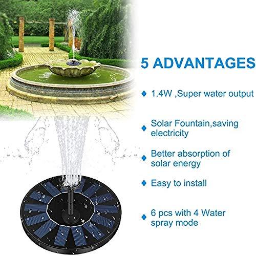 YF Solarbrunnen-Pumpe, Solargarten-Wasser-Brunnen, Solarbrunnen Wasserpumpe Kit for Garten, Teich, Vogelbad, Pool, Aquarium und Rasen