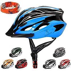 ioutdoor Erwachsene Fahrradhelm CE EN1078, EPS-Körper + PC-Schale, Robust und Ultraleicht, mit Abnehmbarem Visier und Polsterung, mit freiem Stirnband, Verstellbar Radhelm(56-62cm) (Blau Schwarz)
