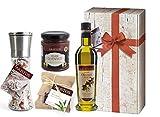 4 tlg Griechisches Olivenöl Geschenk-Set Weihnachten | Öl, Meersalz, Olivenpaste, Naturseife...