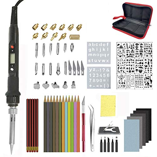 ZEFS--ESD Electric welding kit 60W/80W Electric Soldering Iron Carving Pyrography Tool Wood Burning Embossing Soldering Pen Set,Temperature Adjustable for welding (Color : 80w large set2 B)