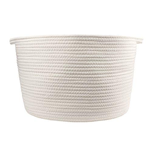 Orino Cotton Rope Storage Baskets with Handles, Soft Durable Laundry Baskets Nursery Hamper Organizer for Kids' Toys Home Decor Blanket Basket (15