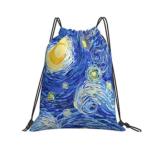 QUEMIN Klassische Kordelzugtasche Sterne und Big Glowing Moon Gym Sack Tasche Kordelzug Rucksack Polyester Sporttasche für Männer & Frauen