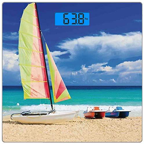 Escala digital de peso corporal de precisión Square Decoración del apartamento Báscula de baño de vidrio templado ultra delgado Mediciones de peso precisas,Exótica playa cubana con Wind Surfing Boat y