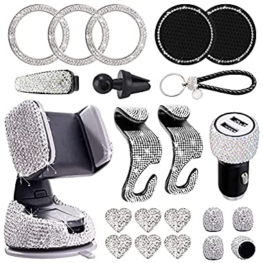 Wilove 21Pack Bling Car Accessories Set for Women Bling Rhinestone Kit Dual USB Car Charger Phone Mount Tire Valve Cap…