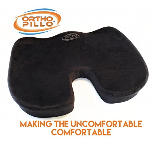Ortho Pillo Comfort Soft Pure Memory Foam Luxury Seat Cushion Orthopedic Design To Relieve Back Sciatica Coccyx -Tailbone Pain Can be used for Exercise Office Chair Washable Pillow Cover Medical Grade