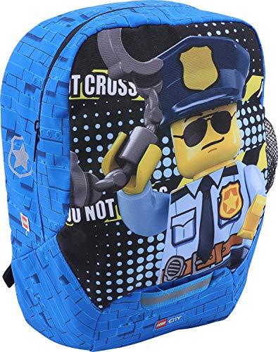 LEGO Bags Kindergarten Rucksack City, Leichter Kinderrucksack, Vorschulrucksack mit Lego Motiv, Kita Rucksack in blau, großes Hauptfach und Mesh Seitentasche, mit Brustgurt und Namensschild innen