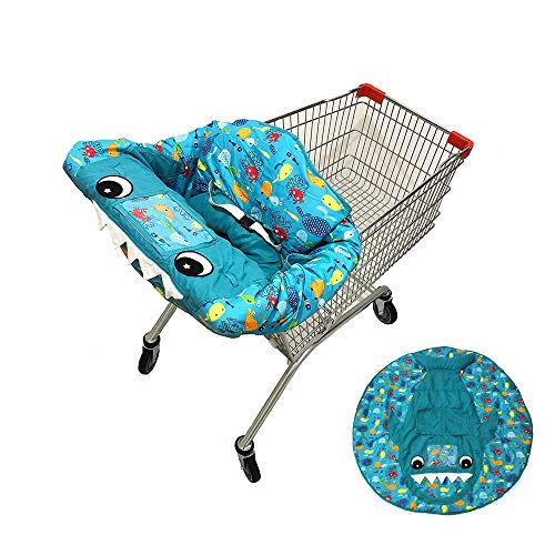 O-Toys 3 in 1 Shopping Cart Cover Baby Toddler High Chair Cover Portable Infant Cotton Seat Cover Positioner Shark Play Mat with Storage Pouch and Safety Belt for Boys Girls