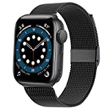 Swhatty Compatible with Apple Watch Band 42mm 44mm, Stainless Steel Mesh Loop Magnetic Closure Adjustable Metal Strap Compatible with iWatch Series 1/2/3/4/5/6/SE, 42mm/44mm Black