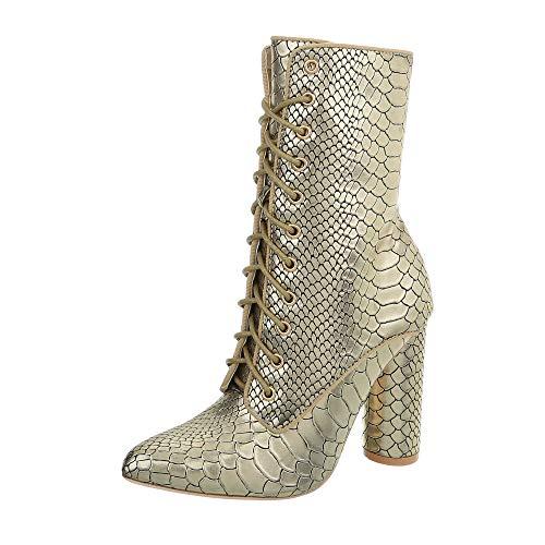 Ital-Design Damenschuhe Stiefeletten High Heel Stiefeletten Canvas Gold Gr. 38