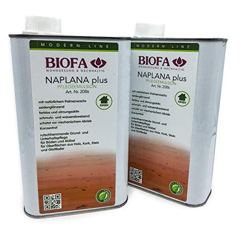 Eco-Werk Set | Biofa Naplana Plus | antirutsch | Pflegeemulsion | 1 Liter | Set 2 Stück