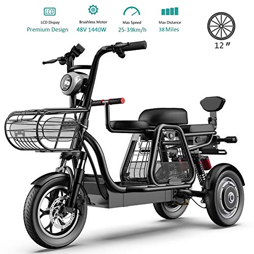 HUIIT 1440W 3 Wheel Electric Bikes for Adult 3 Person Electric Powered Mobility Scooter 48V 30 AH 12'' Electric Bicycle with Electric Lock Ebike for Family with Children Or Pets,Black