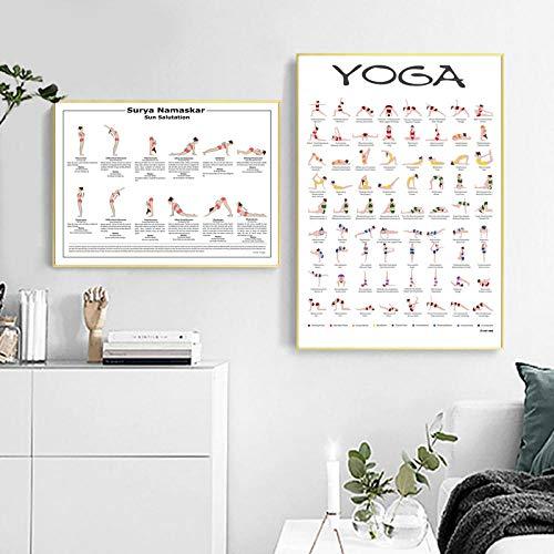 zuomo Póster de Yoga Surya Namaskar Sequence Sun Prints Hatha Yoga Asanas Chart Lienzo Pintura Yogis Gift Yoga Gym Arte de la Pared Decoración 50x70cm Sin Marco