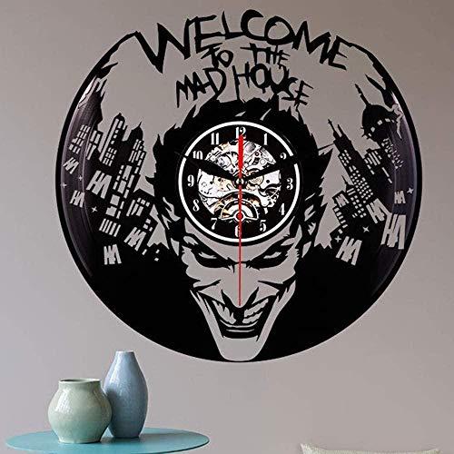 ZZLLL Reloj de Pared LED estéreo de plástico Negro Reloj de Pared con Registro de CD Creativo Reloj de Pared Iluminado con LED de Vinilo 3D Reloj Art Deco para Colgar en la Pared