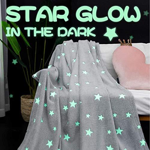 Flanell-Decke mit Sterne im Dunkeln leuchten alle Saision Grau Decke für Mädchen Jungen Baby 127cm*152cm