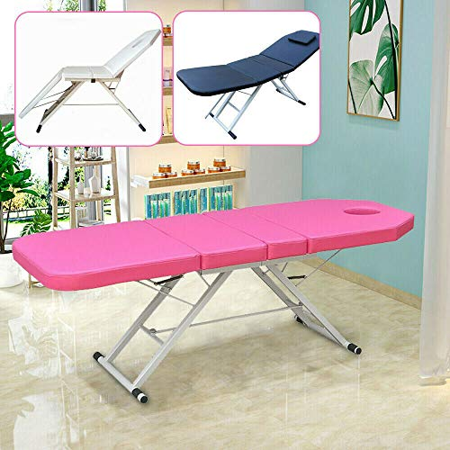 Berkalash Massageliege, 2 Zonen Klappbar Leicht Tragbar Massagetisch, Einfache Installation (Rosa)