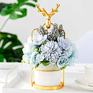 Getine Artificial Flowers Hydrangea with Ceramic Vase Silk Chrysanthemum Mini Potted Fake Flowers Hanging Potted Plants for Wedding Home Office Decor Pack of One (Blue Arrangement, White Ceramic)
