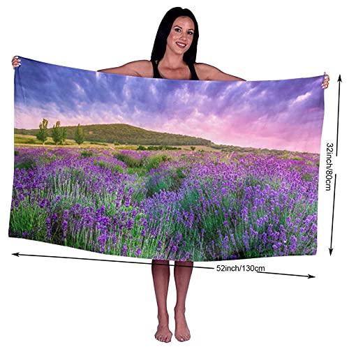 Asciugamano da bagno,Campo Purple Provence Sunset Over Summer Lavender Tihany Nature Green France Ungheria Harvest,Asciugamani ultra morbidi Asciugatura rapida Altamente assorbente per l'uso quotidian