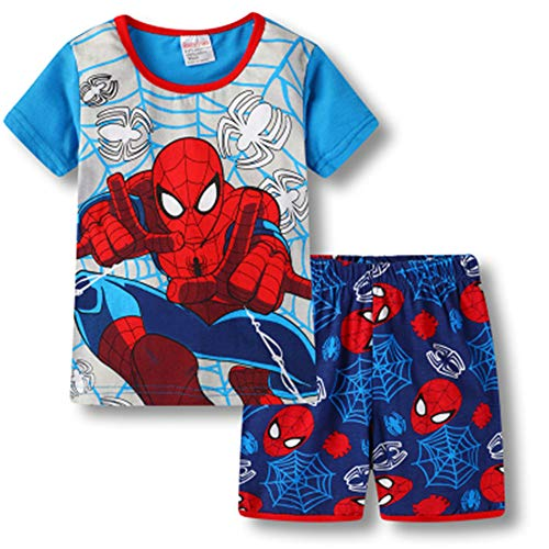 Boys Pajamas 100% Cotton Spiderman Short Kids Snug Fit Pjs Summer Toddler Sleepwear (31, 3T)