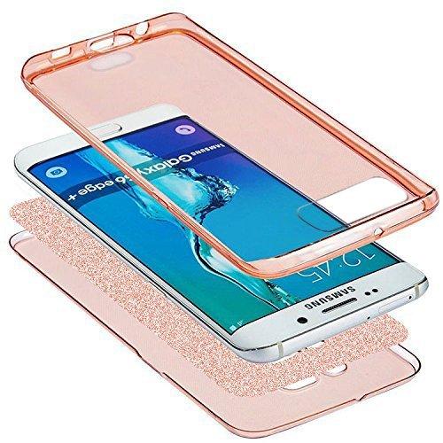 Kompatibel mit Huawei P10 Hülle,Huawei P10 Schutzhülle,Full-Body 360 Grad Bling Glänzend Glitzer Klar Durchsichtige TPU Silikon Hülle Handyhülle Tasche Front Cover Schutzhülle für Huawei P10,Rose Gold - 3