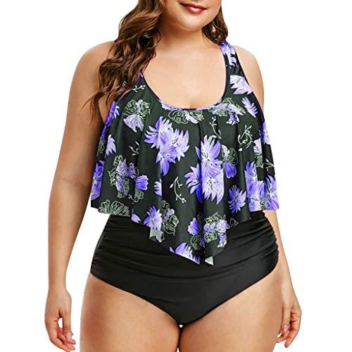 KEERADS Bikini Tankini de mujer Plus Size Floral Swimsuit Retro Vintage cintura alta Set de bikini grande Oversize Swimwear morado 4X-Large