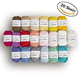La Mia Mini hilo de algodón de 20 madejas 100% algodón, total de 17 onzas cada 25 g/65 años (60 m), ligero, oscuro, peinado, colores surtidos
