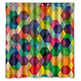 Bunte Dreiecke Viereck Muster Polyester Gewebe Custom Shower Curtain, 66
