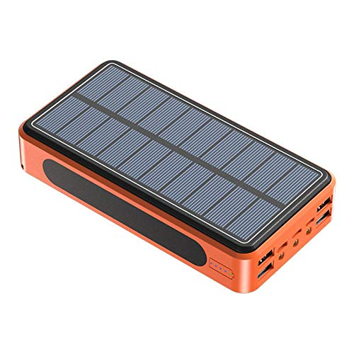 Solar Power Bank 50000Mah Solar Portable Charger with 4 USB Outputs and Type-C Input Waterproof 3 LED Portable Flashlight Battery Pack for Outdoor Activities, Mobile Phones and Tablet