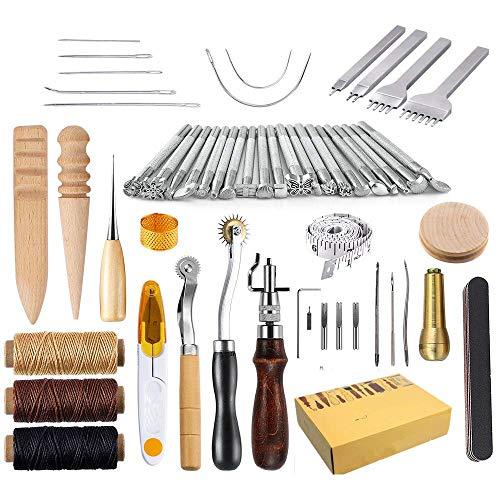 KEREITH Kits de reparación de Costura de Cuero 59 Piezas Máquinas de Coser Cuero Equipo de Trabajo para Costura Manual Sutura. Dispositivo de compresión u Cuero de Montura