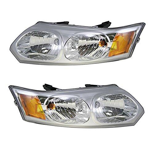 Headlights Headlamps Left & Right Pair Set for 03-07 Saturn Ion 4 Door Sedan