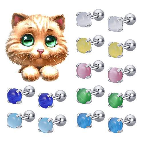 16G oorstekers schattig kat oog oorstekers roestvrij staal roze oorbellen voor meisjes vrouwen helix kartilage oor piercings