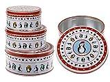 ootb Runde, weiß/rote Metall-Keksdose, Pinguin, 3er Set, Mehrfarbig, 19 x 19 x 9 cm, 3-Einheiten