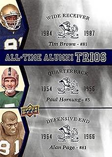 Tim Brown, Paul Hornung & Alan Page football card (Notre Dame Fighting Irish) 2013 Upper Deck All Time Alumni Trios #ATAT-BHP