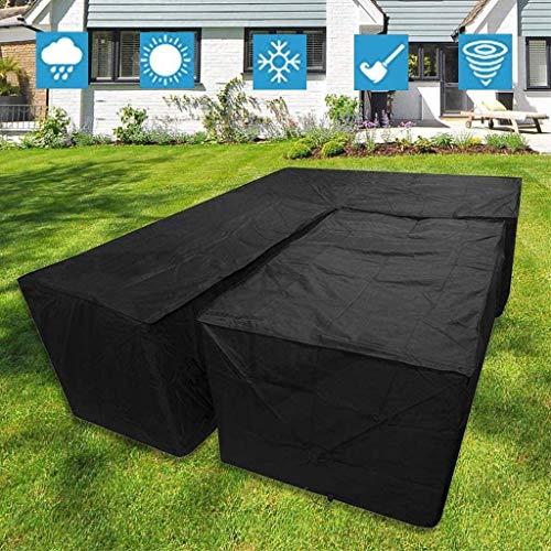 ZIJIAGE L Shape Garden Furniture Covers, Weatherproof Patio Corner Sofa Couch Protector Cover, Black (215X215X87CM+155X95x68cm)