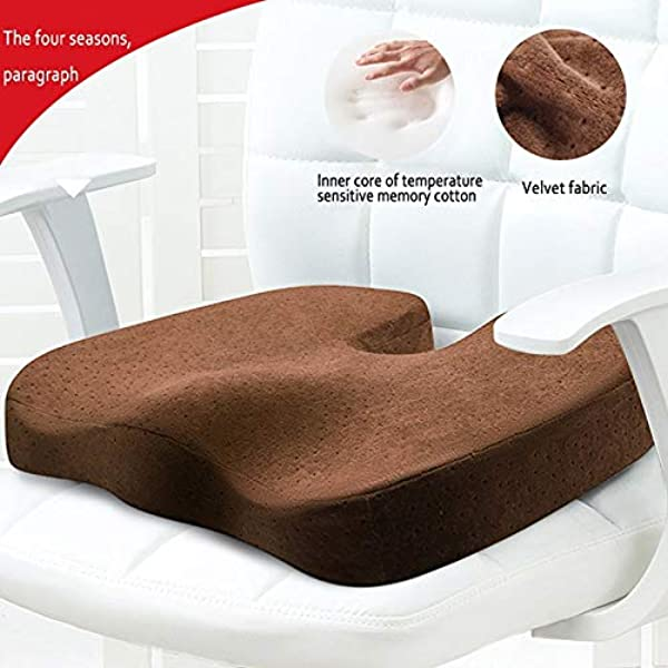 New Memory Foam Seat Cushion Provides And Sciatica Pain Relief Added Comfort For Home Office Chair Cushion Color Brown