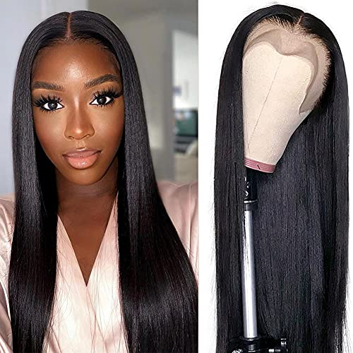 Lace Front Wigs Human Hair Pre Plucked with Baby Hair 13x4x1 Deep Middle T Part Lace Wig 150% Density Brazilian Straight Lace Front Human Hair Wigs for Black Women (24inch)