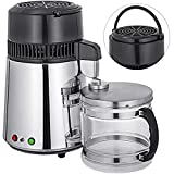 Mophorn Water Distillers Countertop 1.1 Gal/4L, Stainless Steel Purifier Filter Machine 750W, with Handle Food-Grade Outlet Glass Container 110V Silve