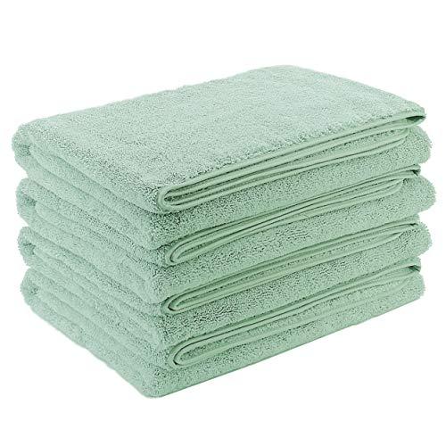 Polyte - Toalla de baño de Microfibra superabsorbente antipelusa - Secado rápido - Verde Claro - 145 x 76cm - Pack de 4