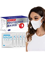 3D Disposable Mask for Adults, Elastic Cloth Ear Straps Breathable Face Mask Individual Package 50pcs White